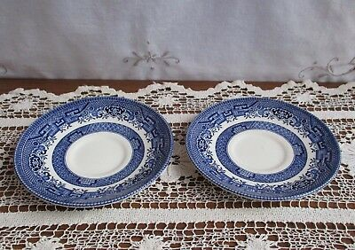 2 X Blue Willow Saucers - Cc Made In England