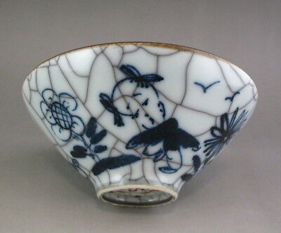 Nice Chinese Antique Guan ware Blue and White Crackle Porcelain Tea bowl /teacup