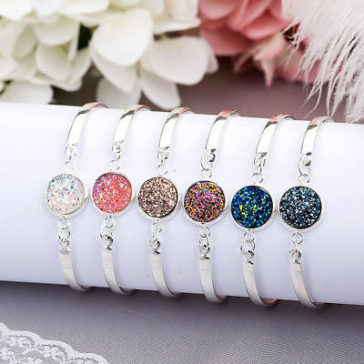 Vintage Boho Women Natural Geode Stone Bracelet Pave Bangles Party Jewelry Gifts