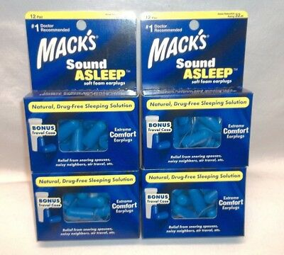 Macks Sound Asleep Extreme Comfort Ear Plugs 12 Pairs w/ Carry Case x4 Total 48
