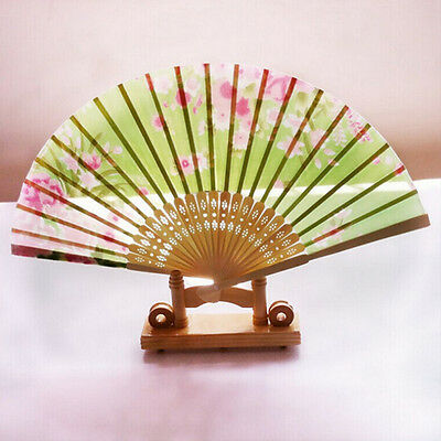Retro Classical Chinese Fan Folding Bamboo Flower Pattern Lace Hand Fan Decor HU