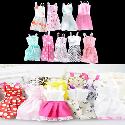 5Pcs Lovely Handmade Fashion Clothes Dress for Barbie Doll Cute Party Costume HU