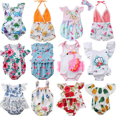 Newborn Kids Baby Girls Flowers Off Shoulder Romper Jumpsuit Outfits Clothes Rac