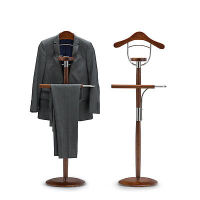 Light Timber Wood Steel Hanger Clothes Coat Hat Bag Suit Trousers Valet Stand
