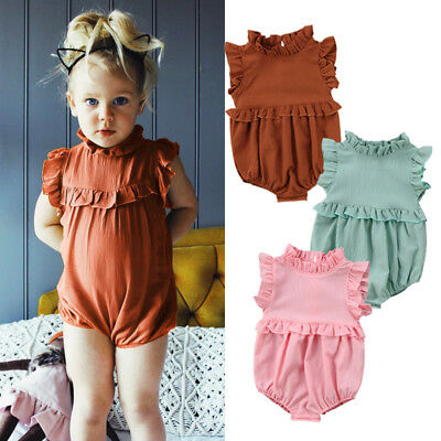 Rac Newborn Baby Girl Sleeveless Romper Jumpsuit Bodysuit Clothes Outfits Summer