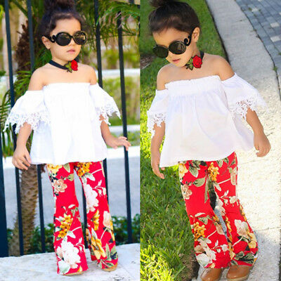 Rac USA Kids Baby Girls Lace Floral Off Shoulder Top Pants Outfits Clothes 1-6T