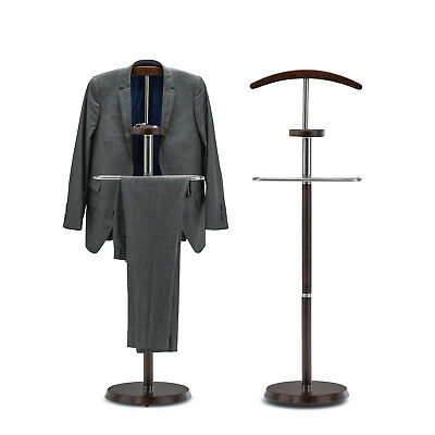 Dark Walnut Wood Steel Hanger Clothes Coat Hat Bag Suit Trousers Valet Stand