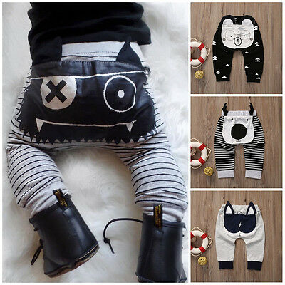 Newborn Baby Boys Girls Cartoon Bottom Long Pants Harem Leggings Trousers 0-24M