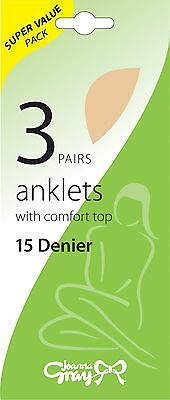 3 Pairs 15 Denier Anklets (Jo Gray) Selection of Colours - for work or play