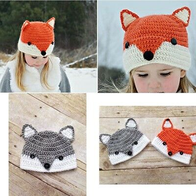 Unisex Baby 2Color Handmade Crochet Fox Hat Lovely Animal Knit Beanie Warm Cap