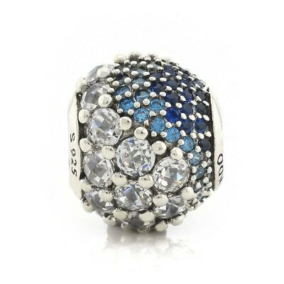925 Sterling Silver Blue Enchanted Pave Charm, Blue & Clear CZ European Bead