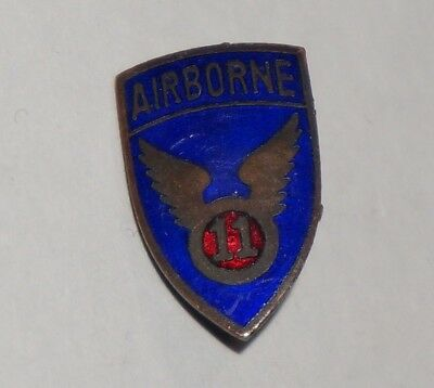 11th Airborne Division Japanese Theater Made DI DUI Crest US Army Pin WWII M1879