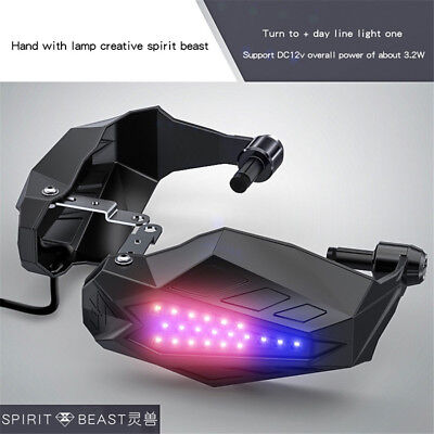Motorcycle Handguard Baffle Waterproof Windproof Grip Protection with LED Light