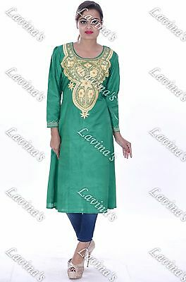 Women Satin Silk Embroidered Tunic Vintage Handmade Sexy Blouse Indian Kurti Old