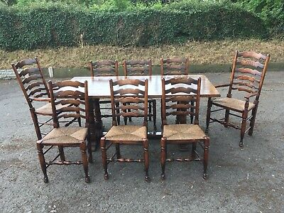 titchmarsh goodwin Oak Refectory Table And 8 Chairs