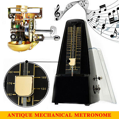 Traditional Wind Up Mechanical Metronome Tempo for Piano Guitar Violin(Black) AU