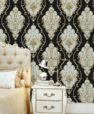 Luxury Heavy Victorian Damask Wallpaper 3D Embossed Black/Gold/Brown/Silver