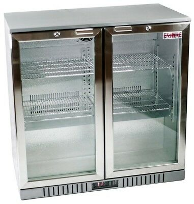 Hinged Stainless Double 2 Door Back Bar Bottle Cooler Fridge Beer Pub Restaurant