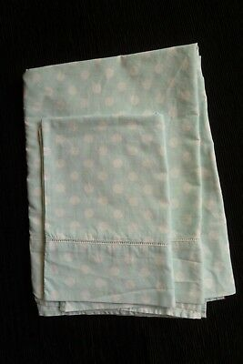Baby clothes/bedding GIRL 3-6m+ cot-size aqua/white spots top sheet/pillow case