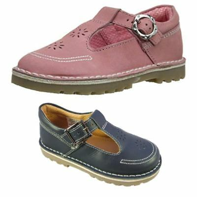 Hush Puppies Kids Girls Slip On Leather Pink Shoes Mary Jones Formal Casual Stra