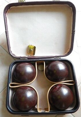 Set of 4 Henselite Size 5 Super Grip Lawn Bowls with  Carry Bag