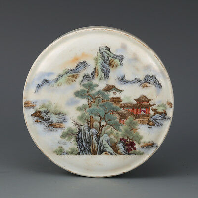 Chinese Old Marked Famille Rose Landscape Pattern Porcelain Inkpad Box