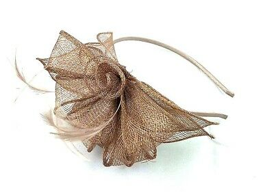 Ladies Nude Coloured Feather Aliceband Fascinator Races Weddings Ladies Day 28