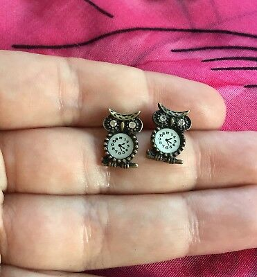 Vintage Antique Gold Crystal Clock Owl Bird Kitsch Stud Earrings Estate Find Vtg