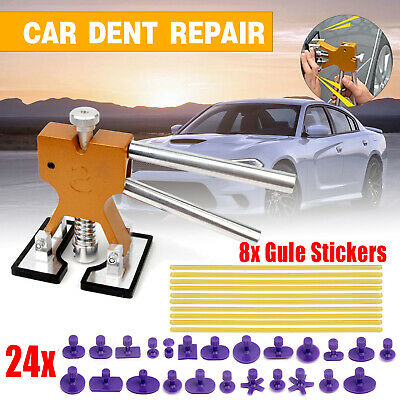 Car Paintless Dent Repair Tool Dint Hail Damage Remover Puller Lifter 24 Tab Kit