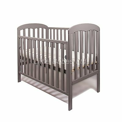 New Mia Drop Side Baby Grey Cot + / - British Made Safety Mattress 120x60x10cm
