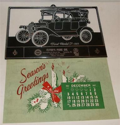 1968 Pure Oil Gas Station Calendar and Car Plak  1915 Ford Model T