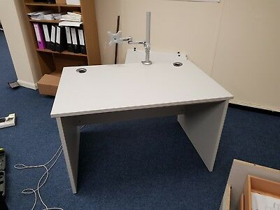 Grey Office Desks with Adjustable Feet (Monitor Arm not Included)