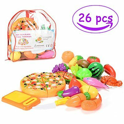 Pretend Cutting Food, 26 PCS Cutting Fruits and Veggies, Pretend Play Food Set