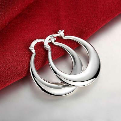 Womens 925 Sterling Silver Classic Crescent Moon Round Vogue Hoop Earrings