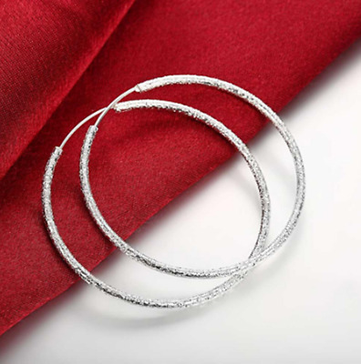 Womens 925 Sterling Silver Frosted Classic Large 51mm Round Vogue Hoop Earrings