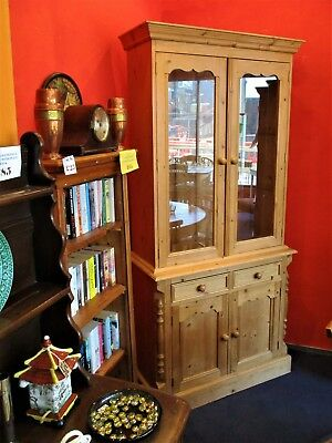 Antique/Victorian Style Pine Glazed Doors Bookcase/Dresser/Cupboard & Drawers