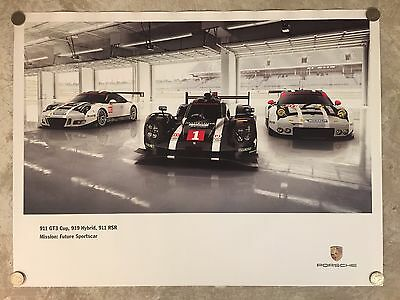 2016 Porsche 911 GT3, 919 Hybrid Showroom Advertising Poster RARE!! Awesome L@@K