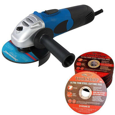 "Angle Grinder Kit with 5 x 115mm 4.5"" Flat Metal Cutting Discs 650w"