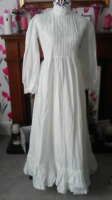 Beautiful Vintage 1970s Laura Ashley Ivory Wedding Dress Made In Wales Size 12