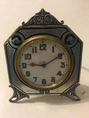 Vtg Deco Doxa Watch 8 Day Travel Clock Sterling Silver Enamel Frame Dog Horse