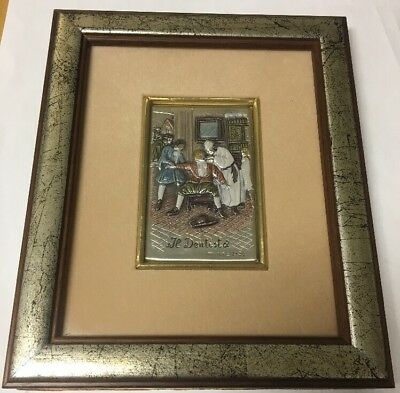 VTG PAINTED STERLING SILVER PLAQUE IN FRAME IL DENTISTD THE DENTIST Italy
