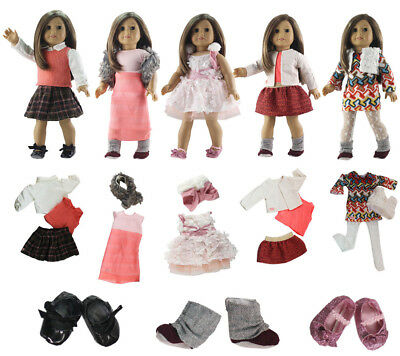 5 Set Handmade Doll Clothes Outfit +3 Pairs shoes for 18 inch American Girl Doll