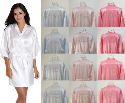 Diamonds Silk Personalized Wedding Robe Bridesmaid Bride Mother Dressing Gown
