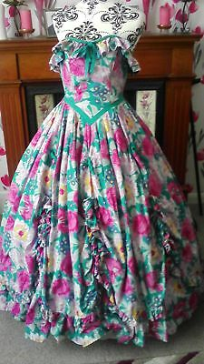 b9052b08fc7 Vintage 1980s Laura Ashley Pink Rose Floral Southern Belle Prom Dress Size  12