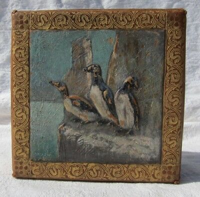 Unusual Arts and Crafts leather box circa 1910  - Penguin Antartica interest