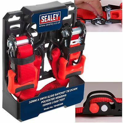 Sealey 2pk 32mm x 3m Slide Ratchet Tie Down Straps Load Cargo Lash S Hooks