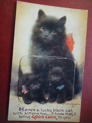 Lucky Black Cat & Kittens - Scarce Bamforth Novelty Pull-Out Postcard!