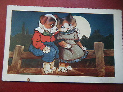Romantic Cat & Dog On Fence - Scarce Artist-Drawn Coloured Postcard!
