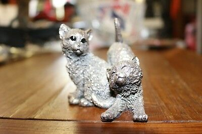 CA Sterling Silver Filled Cats Figurine Hallmarked Birmingham  UK 1993