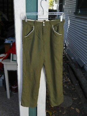"Vintage Kids Green Gabardine Western Snap Button Pants Sz 27""w X 25"" L No Label"